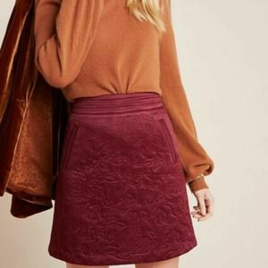 Anthropologie Beatrice Quilted Mini Skirt